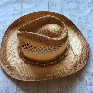 Accessories - Straw Heart Beaded Hat
